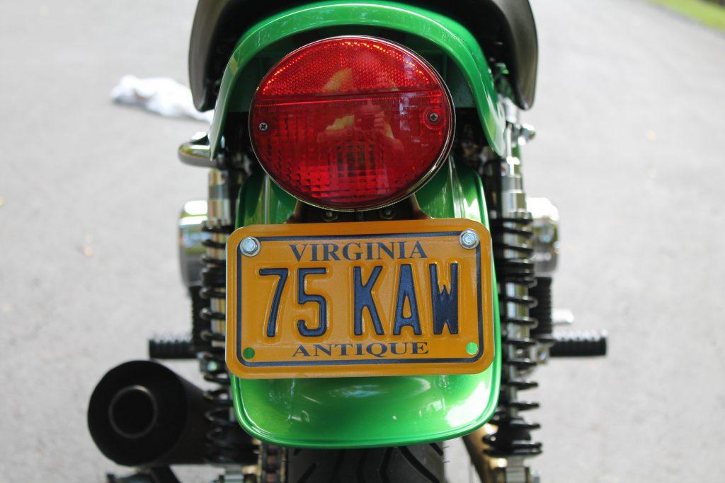 Kawasaki Z1 1975 Green License Plate Steve