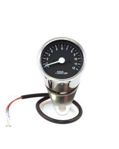 """2.5"""" Chrome Mini Tachometer w/ Black Face - (1:7 Ratio)"""