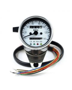 60mm Chrome Mini MPH Speedometer with White Face
