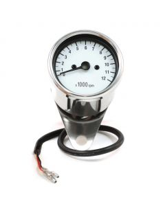 "2.5"" Chrome Mini Tachometer w/ White Face- (1:4 Ratio)"