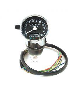 "2.5"" Chrome Mini KPH Speedometer w/ Indicator Lights & Trip - (Black Face)"