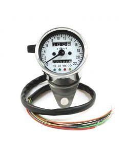 "2.5"" Chrome Mini KPH Speedometer w/ Indicator Lights & Trip - (White Face)"