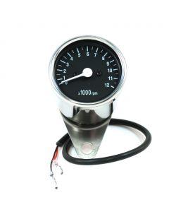 """2.5"""" Chrome Mini Tachometer w/ Black Face - (1:5 Ratio)"""