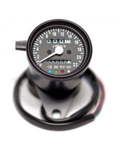 "2.5"" Black Mini KPH Speedometer w/ Black Face, Indicator Lights & Tripometer"