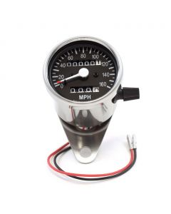 "2.5"" Chrome Mini Speedometer w/ Black Face & Trip Readout"