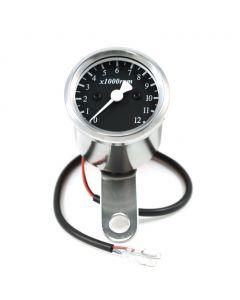 "1.9"" Chrome Universal Mini Motorcycle Tachometer w/ Black Face - (1:5 Ratio)"