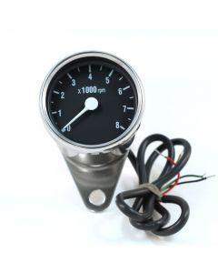 """2.5"""" Chrome Mini Electronic Tachometer - (Black Face)"""