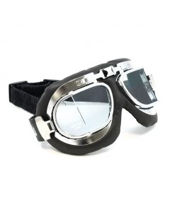 "Classic Split-lens ""Aviator"" Style Goggles - (Chrome/Leather)"
