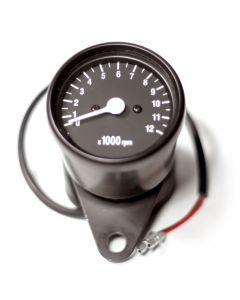 "2.5"" Black Mini Tachometer w/ Black Face - (1:4 Ratio)"